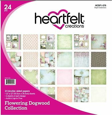 "Heartfelt Creations 12""x12"" Cardstock pack ~FLOWERING DOGWOOD  -24ct. ~275"