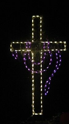 Easter or Christmas Cross w Drape Outdoor LED Lighted Decoration Steel Wireframe