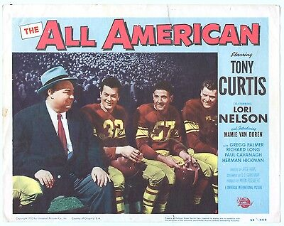 TONY CURTIS LORI NELSON movie poster THE ALL AMERICAN football star 24X36