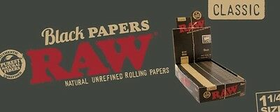 1 Pack RAW Black Hemp Natural Unrefined Hemp Rolling Papers - 1 1/4 - 50 Papers