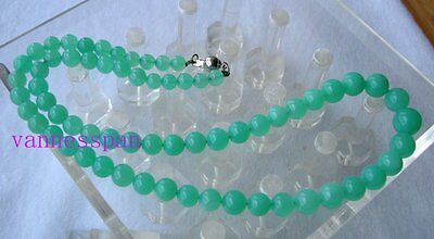 """AAA Natural Australian Chrysoprase Round Beads Necklace 6mm~11mm 19""""(#210-10403)"""