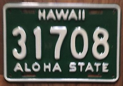 1961 Green Hawaii Aloha State Authentic Motorcycle License Plate Mint #31708