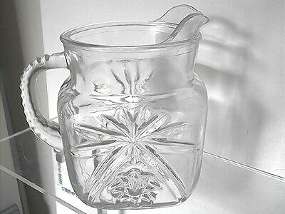 Vintage Anchor Hocking Early American Prescut EAPC 40 oz. Square Pitcher
