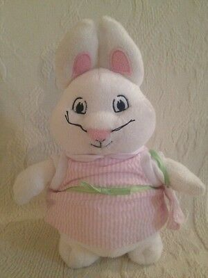 "9"" Max & Ruby Plush Stuffed Girl Bunny Rabbit Rosemary Wells 2011 Pink Striped"