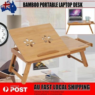 Portable Bamboo Laptop Notebook Desk Table Cooling Fan Mouse holder Tray Bed AU