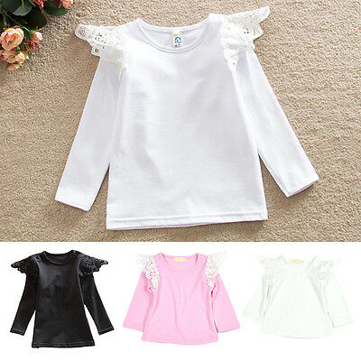 Stylish Baby Girls Infant Toddler Kids Lace Wing Long Sleeve T-shirt Tops Blouse