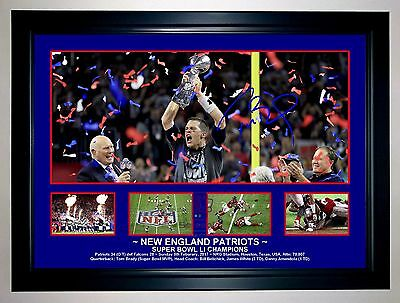 New England Patriots Tom Brady Super Bowl Li Photo Collage Signed Print/framed