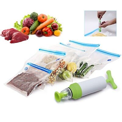 5x Vacuum Food Storage Bag Sealer Packaging Manual Kitchen Tools with Hand Pump