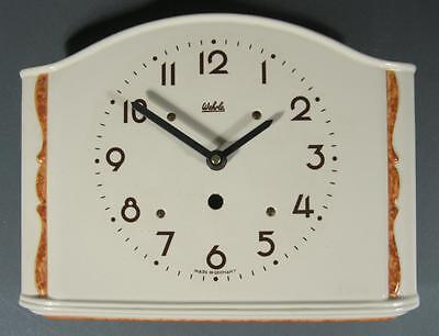 Vintage 1930s art deco ceramic Wehrle wall clock Made in Germany pottery