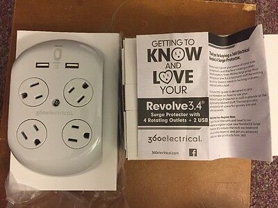 360 Electrical 36038 Revolve Surge Protector With 4 Rotating Outlets And 3.4 Am
