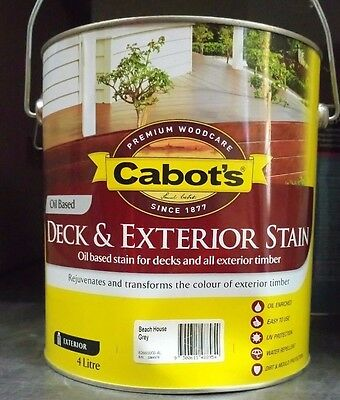 Cabots Deck And Exterior Oil Based 4 Litre Beach House Grey Stain