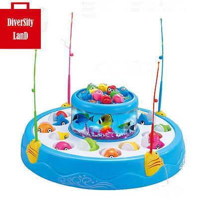 Electric Light Catching Rotating Magnet Fish Kids Toy Game Blue Fishing Game