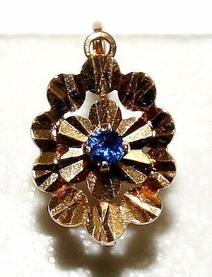 1 ANTIQUE VICTORIAN FRENCH ROSE 18K GOLD SAPPHIRE FLOWER HAND MADE EARRING c1900