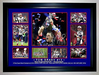 Tom Brady New England Patriots Super Bowl Li Photo Collage Signed Print/framed