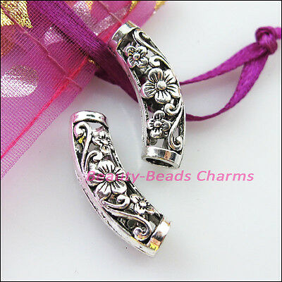 4 New Charms Wave Flower Tube Spacer Beads 9x25.5mm Tibetan Silver