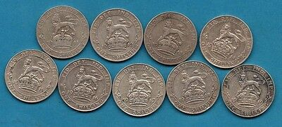 1911 1912 1913 1914 1915 1916 1917 1918 1919 Silver One Shilling Coins. George V