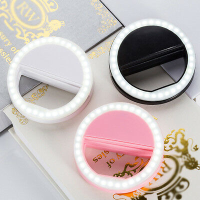 Portable Selfie LED Flash Ring Light For IPhone Mobile Phone Cellphone Pink