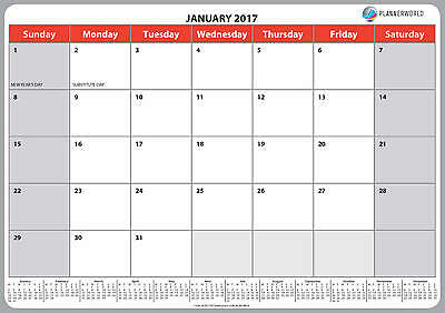 A3 (large) 2017 Wall Memo Notes Calendar, Good Quality by Plannerworld
