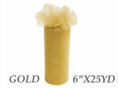Wedding & Event Fabric - Tulle Roll - 6inch x 25yd - Gold (15cm x 22.9m)