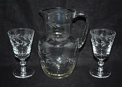 Vintage Etched Clear Glass Jug with 2 Cordial Glasses - vgc