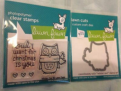 LAWN FAWN STAMP & MATCHING CUTTING DIE - WINTER OWL Owl I want for Christmas