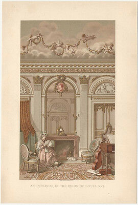 """Beautiful Victorian Chromolithograph of """"Interior in the Reign of Louis XVI"""""""
