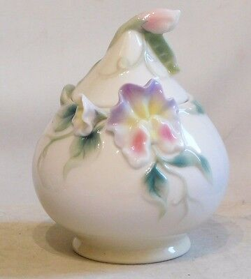 FRANZ PORCELAIN ~ Porcelain Sugar Bowl ~ SWEET PEA ~  FZ00418 ~ Boxed