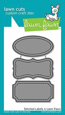 LAWN FAWN CUTS CUTTING DIE - STITCHED LABELS - LF858 messages tags
