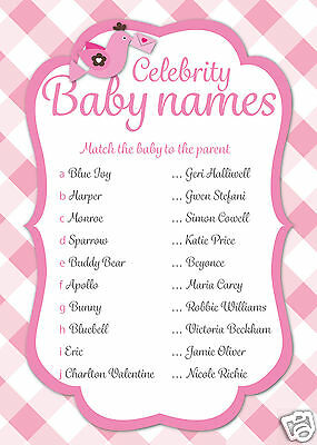 16 Baby Shower Celebrity Name Game Cards Mums Party Favours PINK Girls