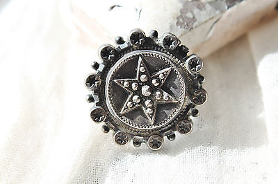 Victorian Sterling & French Cut Steel Accent C Clasp Relief Star Brooch Pin