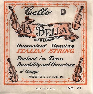 4 x Vintage Gut Cello 'D' string