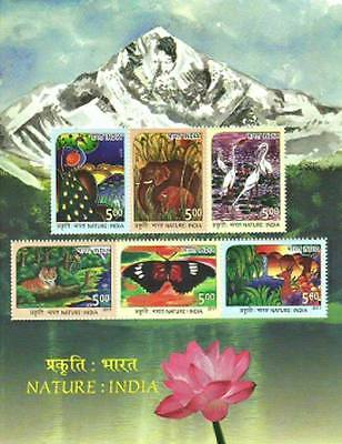 India 2017 MNH Miniatures Stamps Nature 6 value Tiger, Butterfly, Deer, Elephant