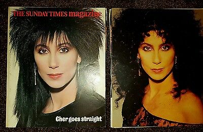 Cher very rare 1985 Sunday Times Magazine article with poster