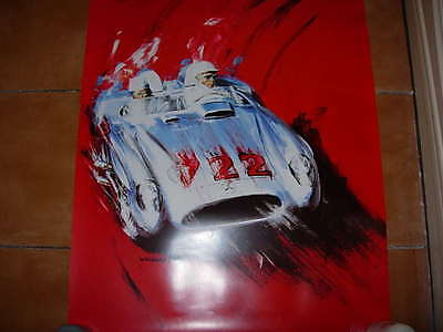 mille miglia poster, moss in the winning mercedes,by wasser