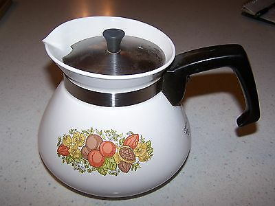 Corning Ware Spice Of Life Pattern Tea Pot - Metal Lid P10 4-B 900 Ml 6 Cup