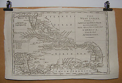 Antique Map WEST INDIES Hispaniola Cuba Jamaica English French Settlements c1763