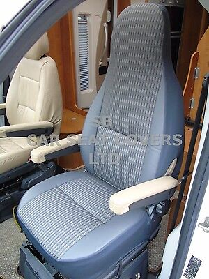 To Fit A Ford Transit Motorhome, Seat Covers, 2008, Mh-181 Schwartz Grey