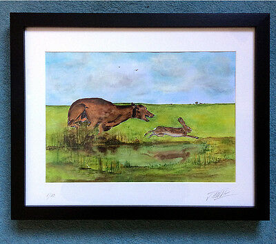 Lurcher - Coursing - Painting Print - The Chase - Hare & Hound - Limited Edition