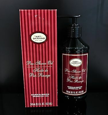 The Art of Shaving SANDALWOOD PRE-SHAVE OIL LARGE PUMP 8oz/240mL (New in Box)