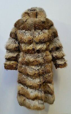 Original Vintage 60s 70s Full Real Fur Red Fox Fitted Coat Jacket 10