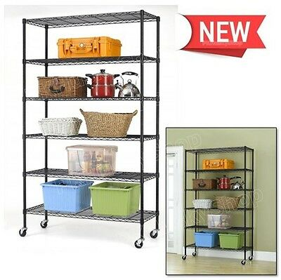 "Commercial Wire Metal Shelving Rack 82""x48""x18"" 6 Tier Layer Shelf Retail Store"