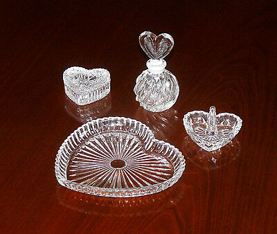4 Piece clear lead crystal Dressing Table Vanity Set
