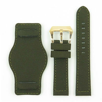 DASSARI Trooper Military Watch Band Strap in Green w/ Yellow Gold Pre-V Buckle