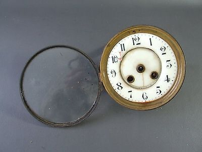 Vintage clock movement with front door & dial for spares or parts