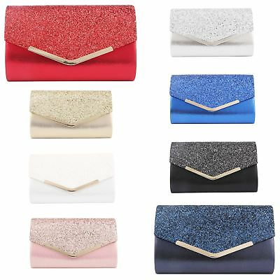 New Glitter Sparkle Wedding Party Prom Envelope Evening Clutch Hand Bag Purse