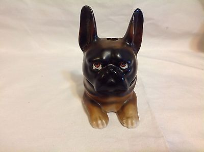 Antique Germany Hand-Painted Porcelain French Bulldog Inkwell Trinket Box