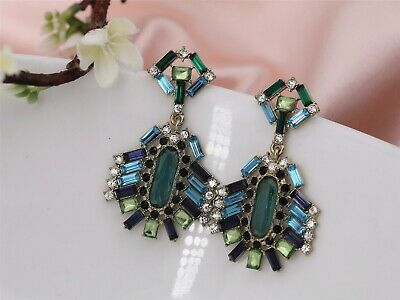 Earring Stud Gold Blue Green Square Crystal Strass Art Deco Pendant Vintage A4