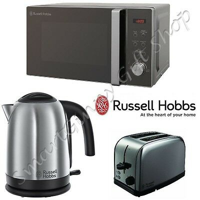 Russell Hobbs Silver 20L Microwave Kettle 2 Slice Toaster Kitchen Appliance Set