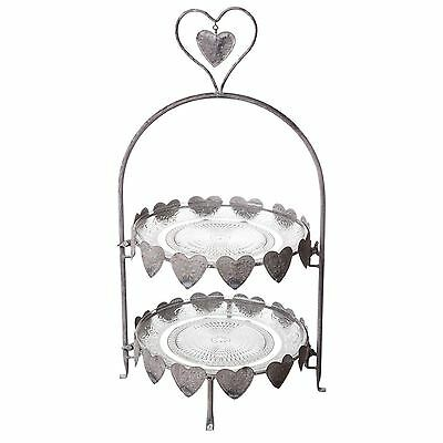 New Vintage Amore Love Heart 2 Tier Cake Stand Distressed Grey Metal