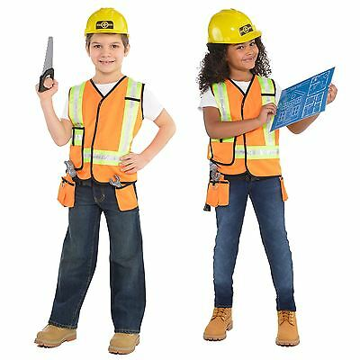 Kids Builder Fancy Dress Up Costume Kit Book Week Construction Worker 4-6 Years